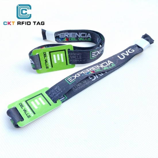 Custom RFID Wristband Fabric Woven RFID ufh Wristband Factory Outlet