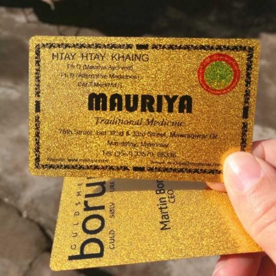 High-End Glossy Metallic Golden Plastic Business Cards Custom Printing