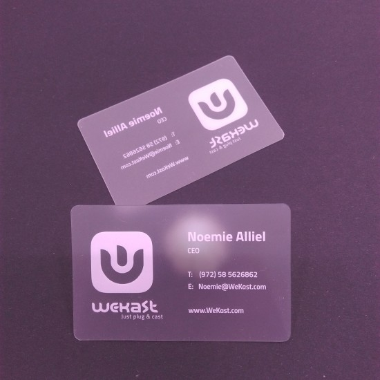 Translucent Cards Extra White Ink with QR Code Special Size 90*51mm