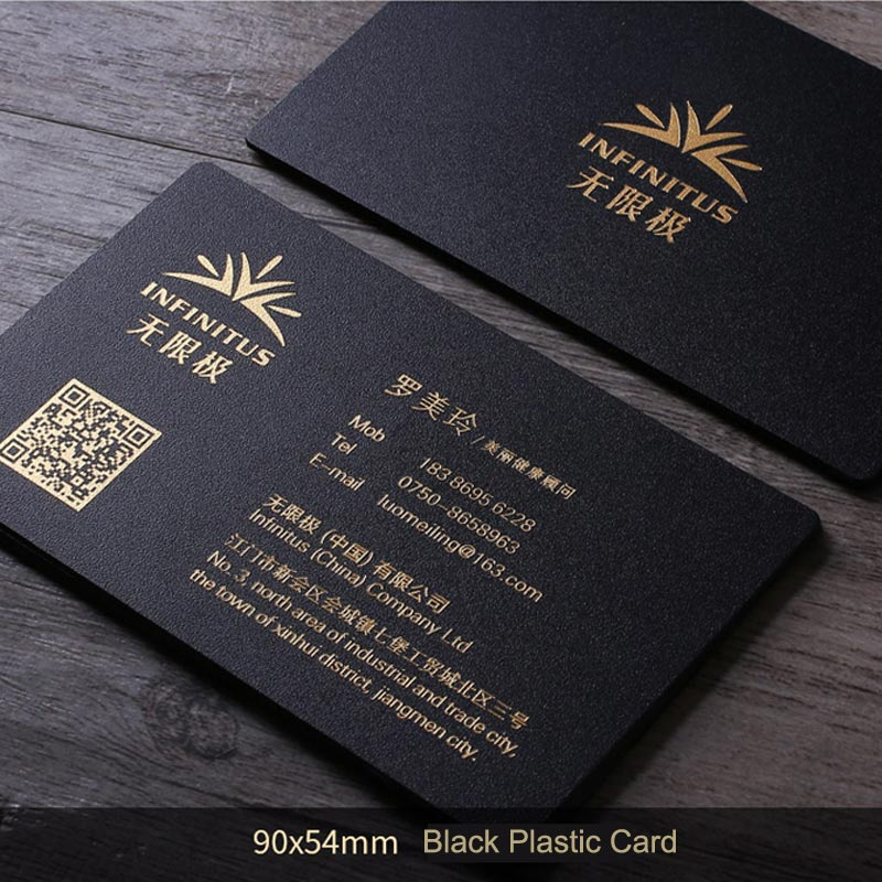 90x54mm thickness 0.8mm Letterpress Frosted Black Plastic card with gold foil stamped on both sides