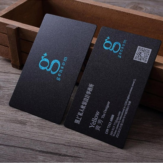 90x54x0.8mm Letterpress Frosted Black Plastic Card with Gold Foil