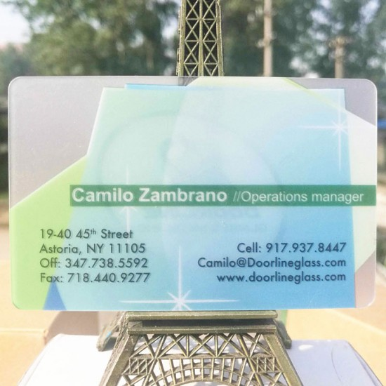 Thickness Transparent Card Frosted Fnishing White Opaque Printing