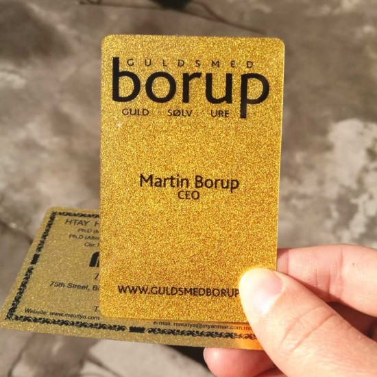 Plastic Metallic Gitter Frosted PVC Golden Business Card Design