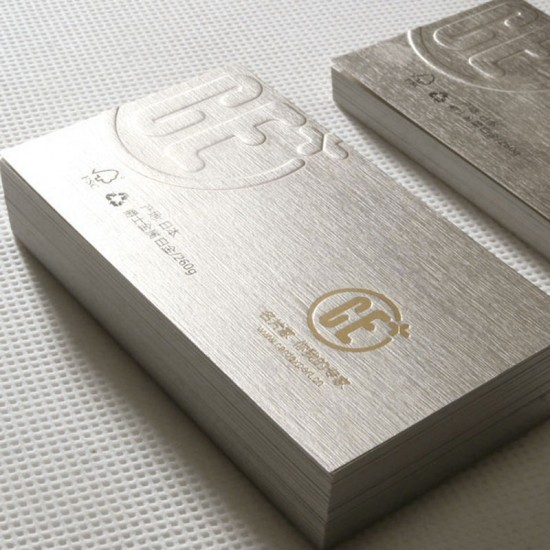Brushed Silver Metallic Paper Business Card 285gsm