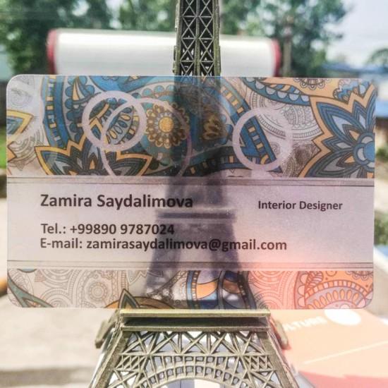 Transparent Business Card Single Side Printer CMYK Color Design Free