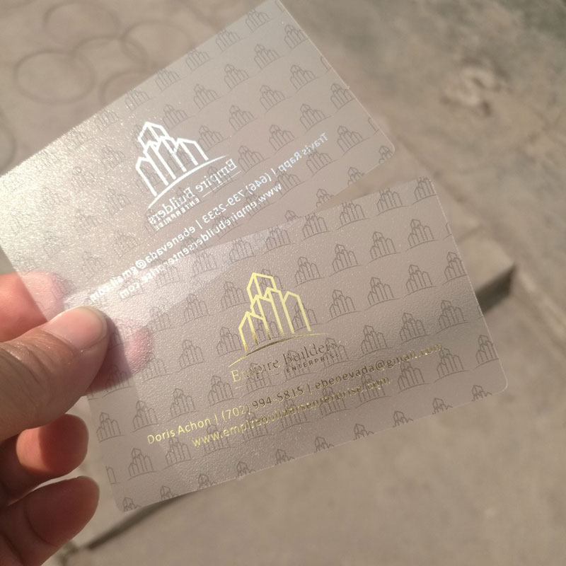 Gold foil stamped frosted plastic custom transparent cards