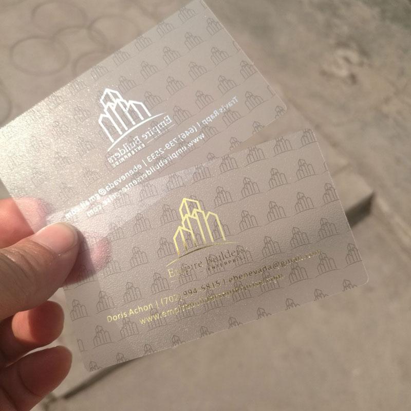 Gold foil stamped frosted plastic custom transparent cards