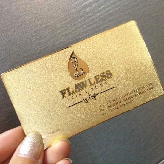 Modern Steel Plain Metal Business Card Cutout Visiting Cards Sample