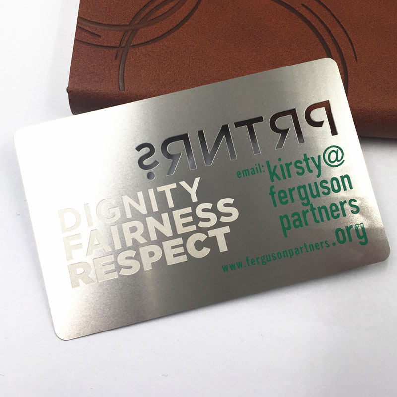 Modern stainless steel plain metal business card with Cutout LOGO