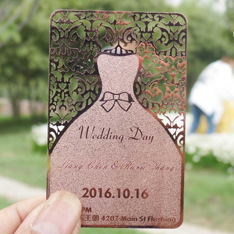 Rose Gold Plated Metal Invitation Wedding Card Template Bride Dress Design