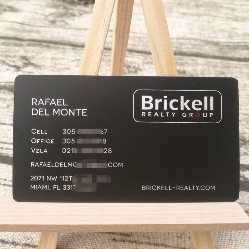 Mini matte black metal name card with silver color printing 76X44mm