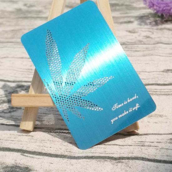 Brushed Blue Metal Business Cards Wholesale Maker Thank You Cards