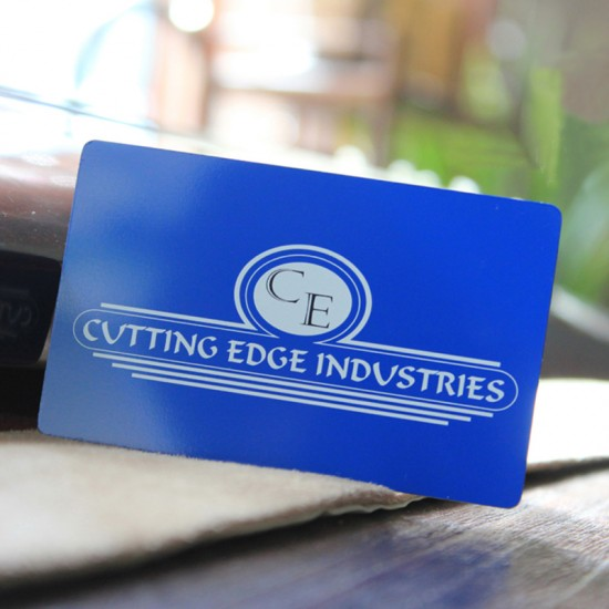 Blue Metal Business Card White Printing Thank You Cards Personalized