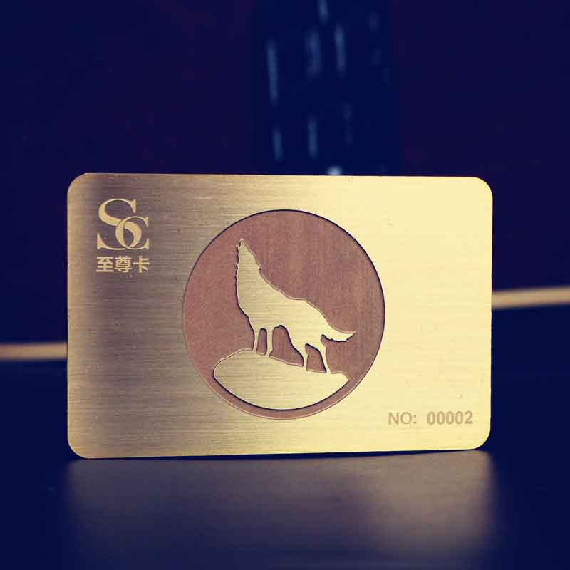 Gold Metal Business Card with Brushed Finishing and Matte Etching