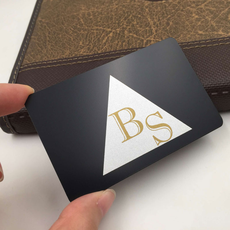 Luxury Matte Black Metal Card with Gold and Silver Color Printed