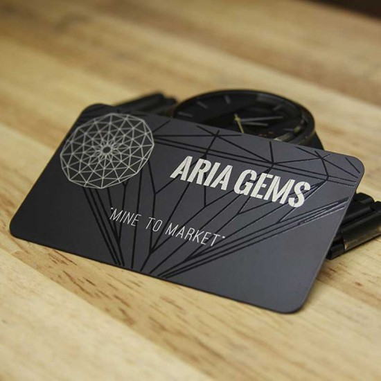 Matte Black Metal Gift Cards Design Free with Black UV Silver Color