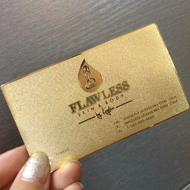 Gold Metal Membership Cards with Surface Etching and Cutout in thickness 0.3mm