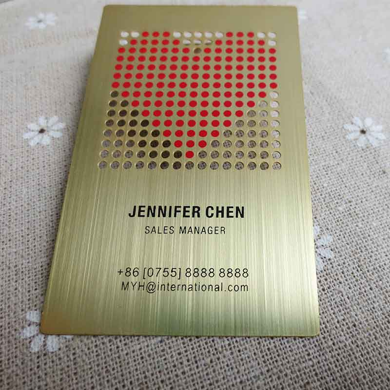 Brushed golded metal card design with cutout and red color printed Free Shipping by Airmail
