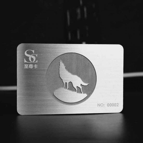 Brushed Silver Gift Card with Matte Etching Name Card Size