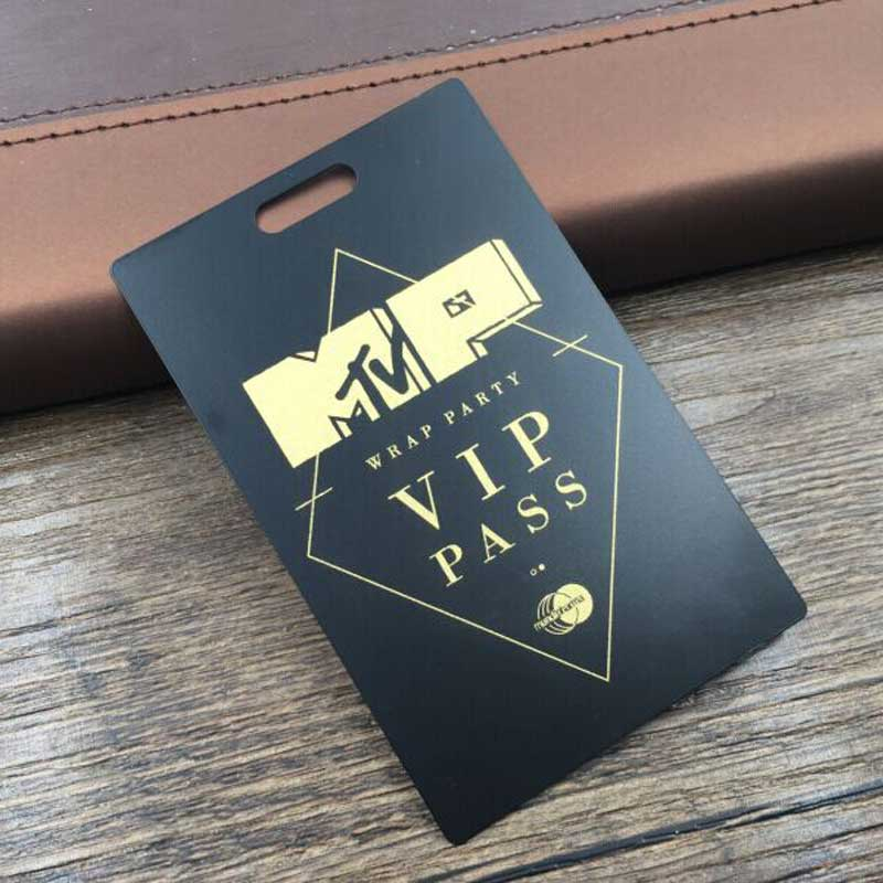 Black Metal VIP Pass with Cutout and Gold Spot Color