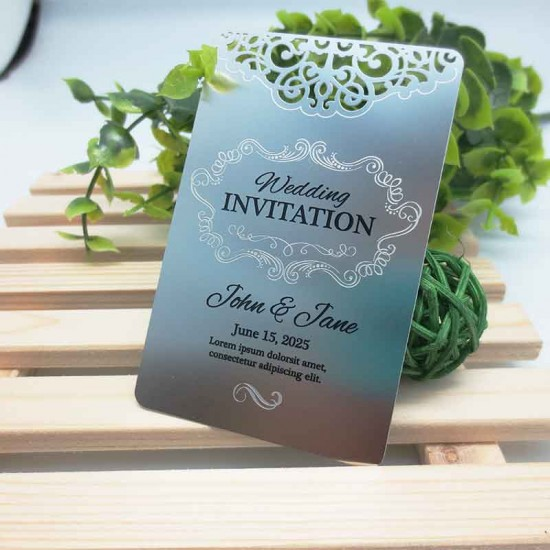 Stainless Steel Wedding Card Message Design Free Thank You Cards