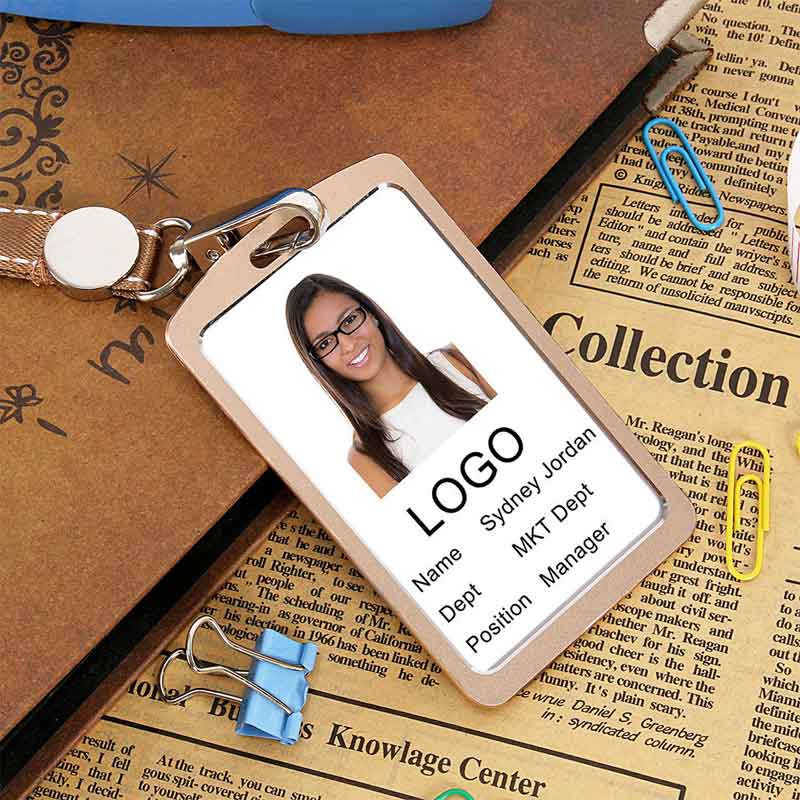 Aluminum Alloy Business Work Card ID Badge And Adjustable Lanyard Holders Top