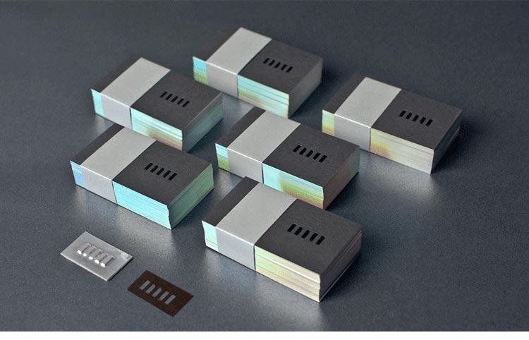 700g paper name card laser foil edge
